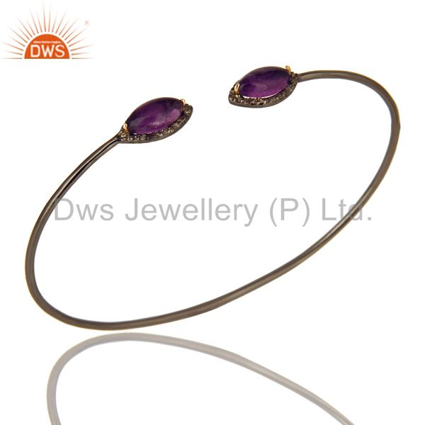 Amethyst And Pave Diamond Stack Open Bangle In 18K Gold And Sterling Silver
