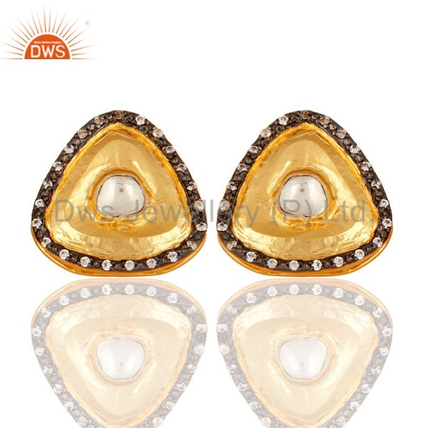 18K Yellow Gold Plated Brass Crystal Quartz Polki And CZ Stud Earrings
