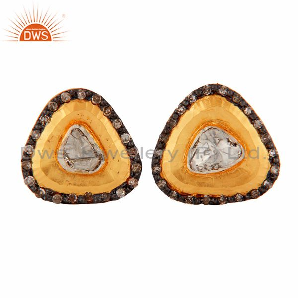 18k Yellow Solid Gold Sterling Silver Antique Cut Diamond Ladies Stud Earrings