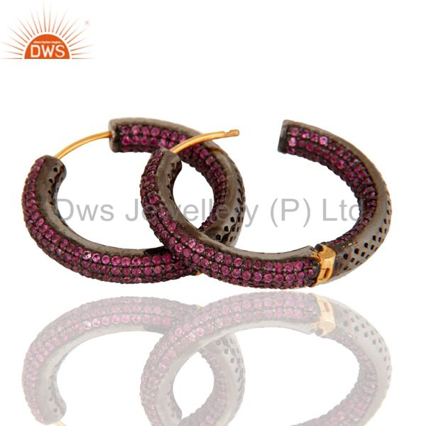 14K Solid Yellow Gold Natural Pink Sapphire Studded Hoop Earrings