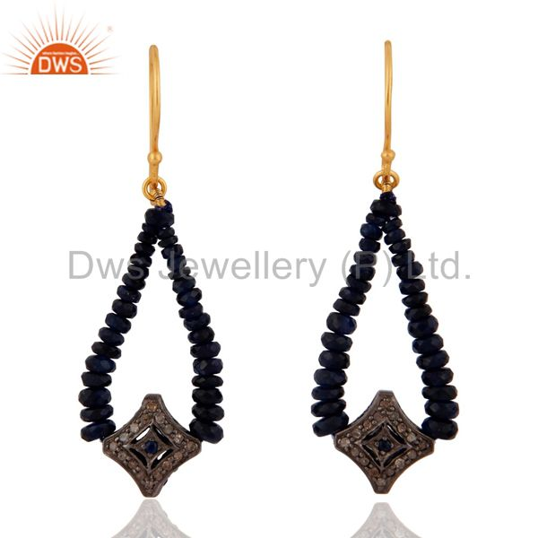 18K Solid Yellow Gold Blue Sapphire Pave Diamond Charm Dangle Earrings