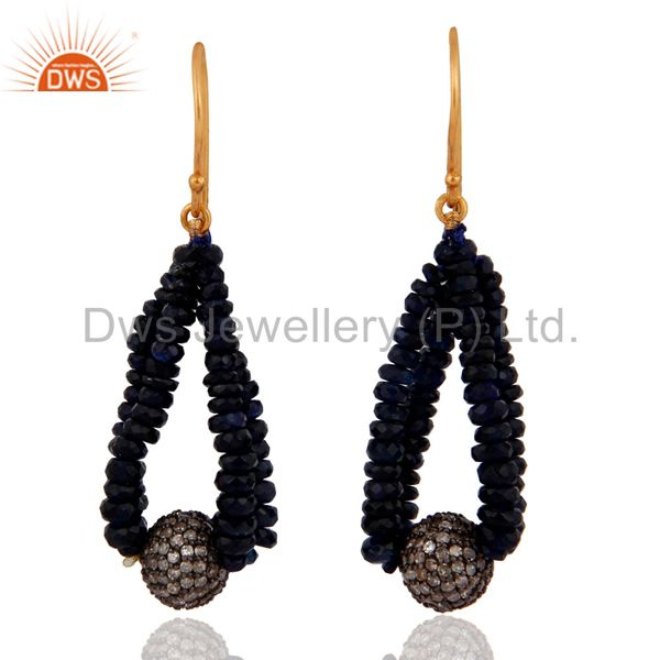 18k Solid Gold Blue Sapphire Gemstone Earrings Pave Diamond 925 Sterling Silver