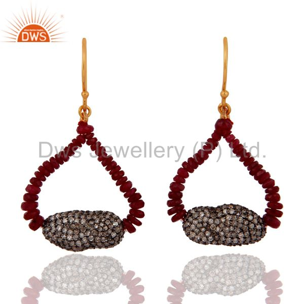 18K Solid Yellow Gold Genuine Pave Diamonds Ruby Beads Sterling Silver Earrings