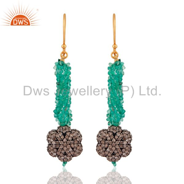 Handmade Emerald Gemstone Beads 18kt. Gold Pave Diamond Designer Dangle Earrings
