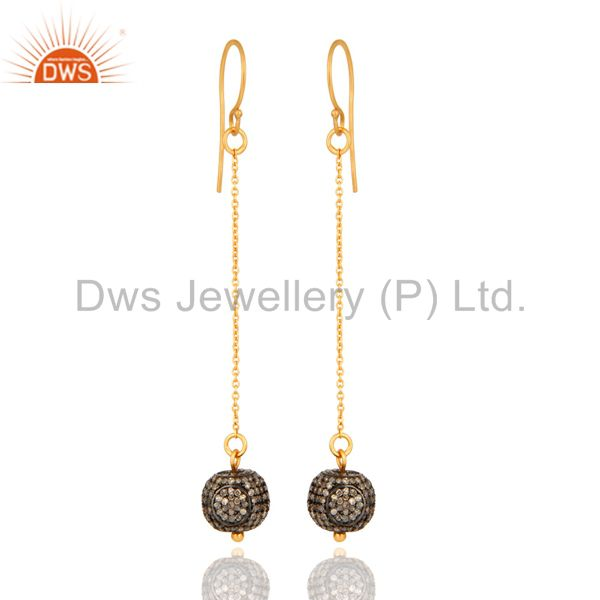 14K Yellow Solid Gold Pave Set Diamond Silver Bead Chain Dangle Hook Earrings