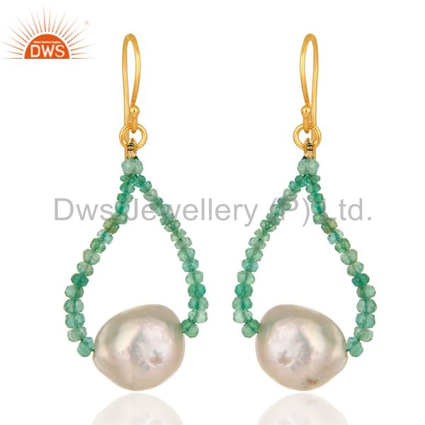 Natural Emerald Gemstone 18K Solid Yellow Gold Dangle Hook Earrings With Pearl
