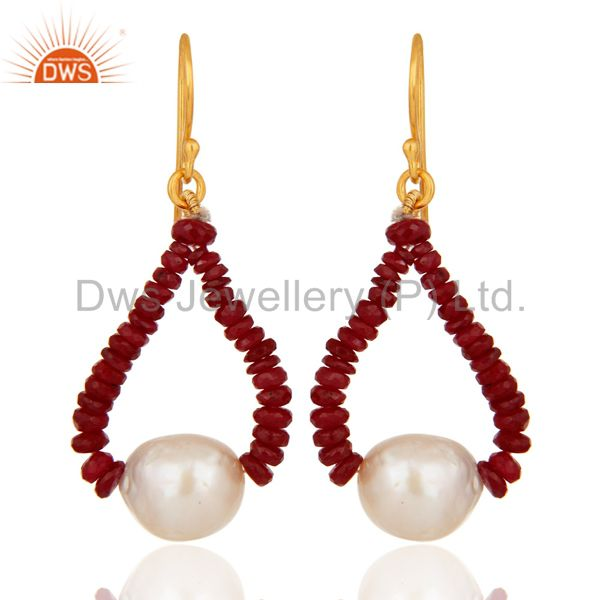 Genuine 18K Yellow Gold Natural Ruby Gemstone And Pearl Dangle Earrings