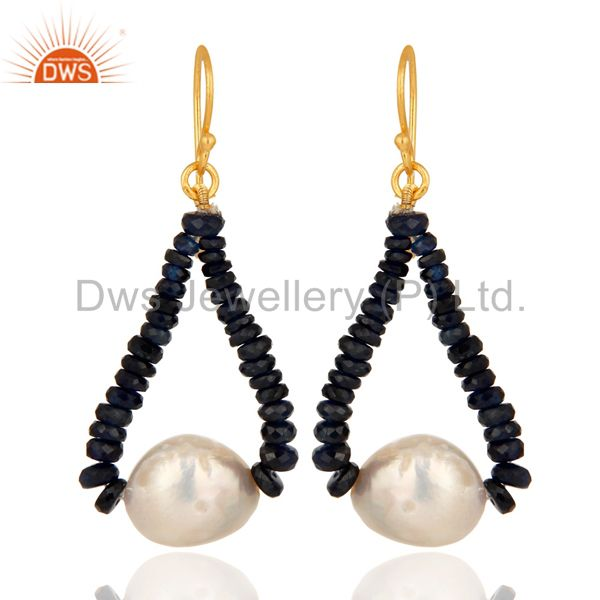 18K Yellow Gold Blue Sapphire Gemstone Dangle Earrings With Natural White Pearl