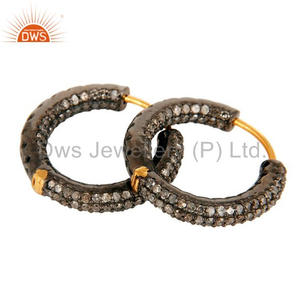 Solid 14K Yellow Gold Micro Pave Setting Round Diamond Hoop Earrings