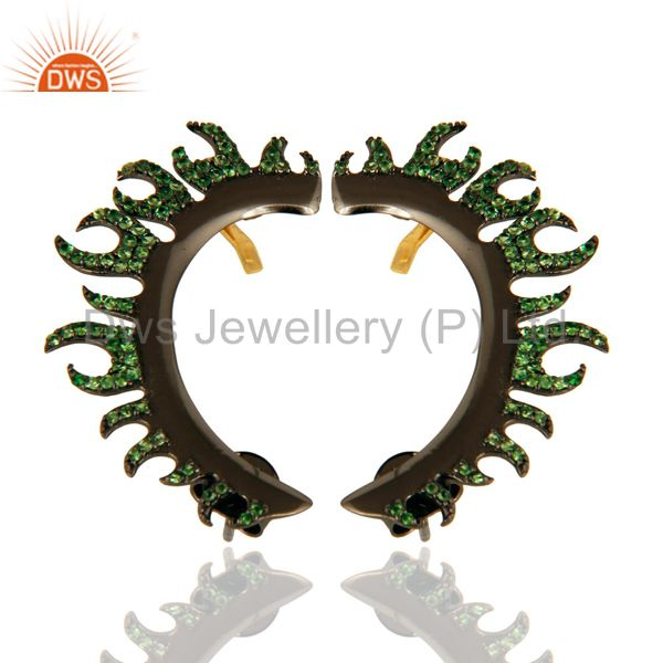 18K Solid Yellow Gold And Sterling Silver Pave Set Tsavorite Ear Cuff Earrings