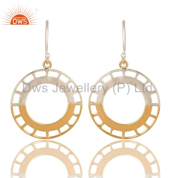 Handmade 18k Solid Yellow Gold And Half Sterling Silver Circle Designer Earrings