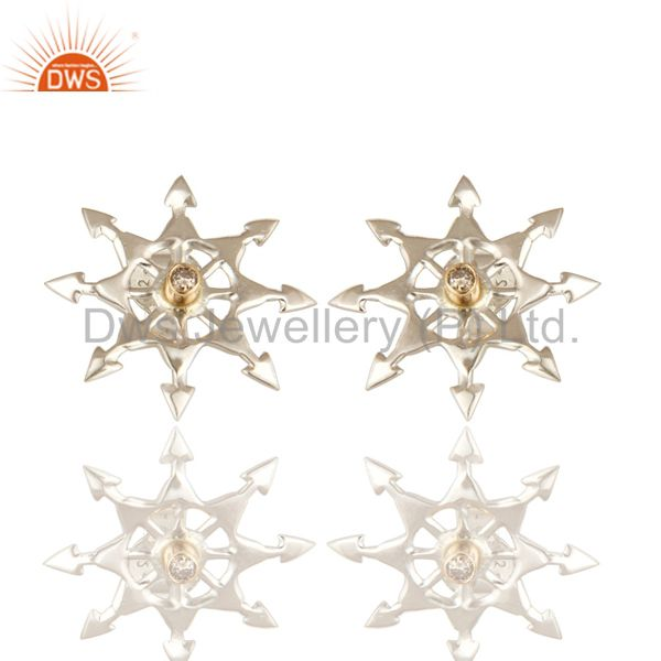 18K Yellow Gold And Sterling Silver Natural Diamond Womens Stud Earrings