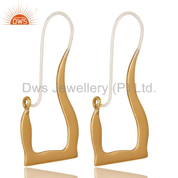 18k Solid Yellow Gold And Sterling Silver Handmade Hoop Earrings