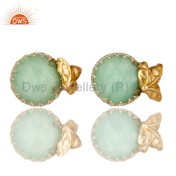Handmade 18k Solid Yellow Gold Chrysoprase Faceted Gemstone Stud Earrings