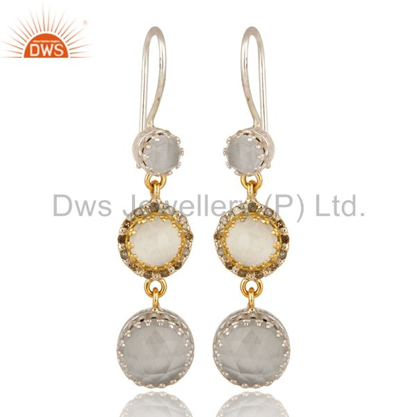18K Gold And Sterling Silver Pave Diamond White Moonstone Dangle Earrings