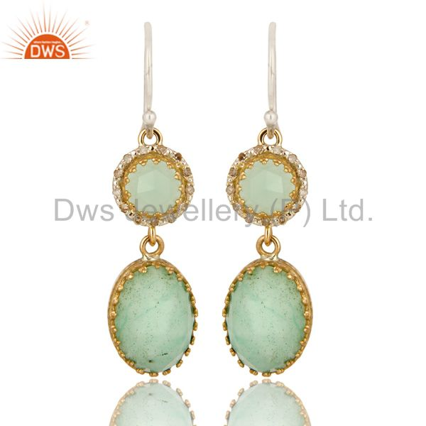 Natural Chrysoprase 18K Yellow Gold Pave Diamond Sterling Silver Dangle Earrings