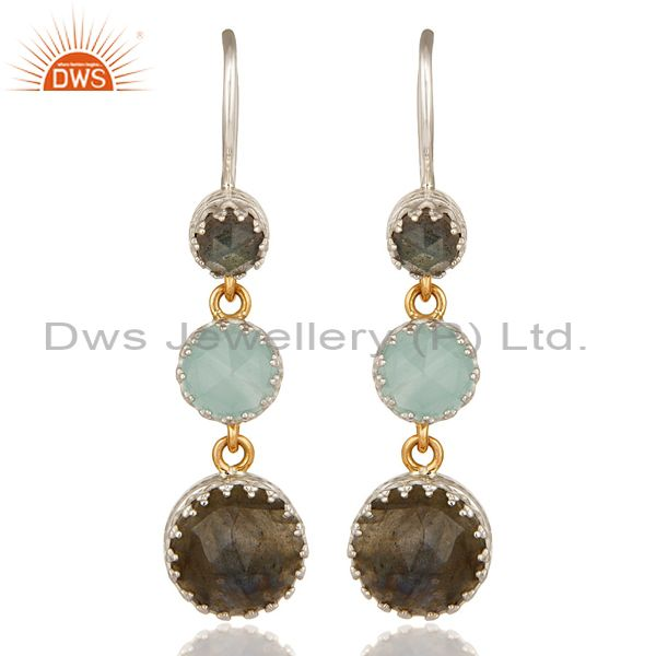 18K Yellow Gold And Sterling Silver Blue Chalcedony & Labradorite Dangle Earring