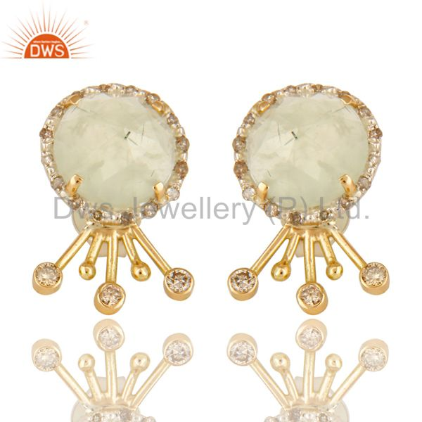 18K Solid Yellow Gold Prehnite Gemstone Pave Diamond Stud Earrings