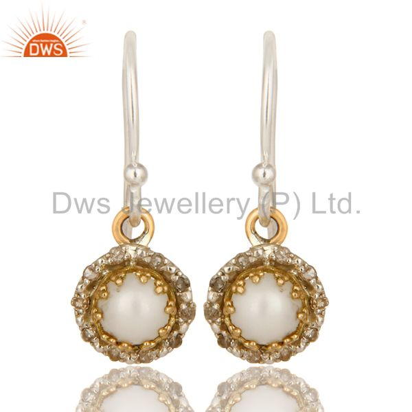 18K Yellow Gold And Sterling Silver Pave Diamond Pearl Hook Dangle Earrings