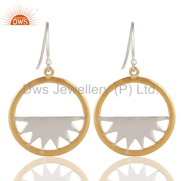 18K Solid Yellow Gold And Sterling Silver Half Moon Dangle Earrings