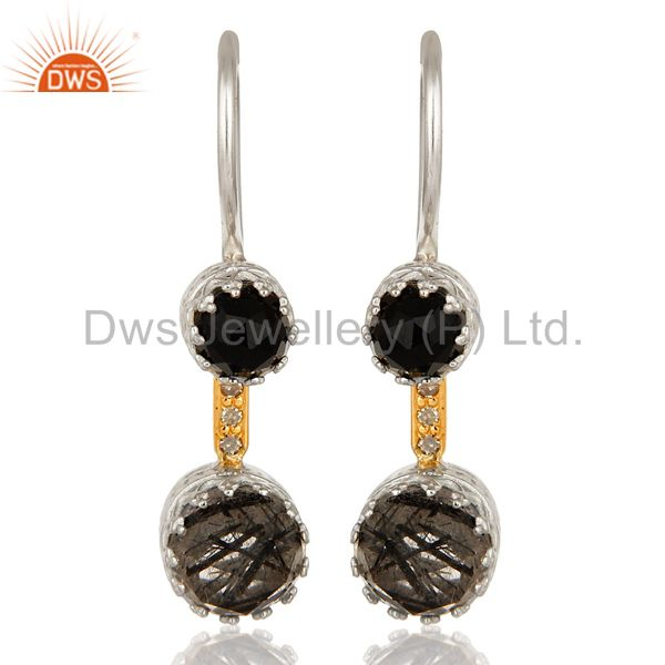 18K Gold And Sterling Silver Tourmalinated Quartz and Black Onyx Dangle Earrings