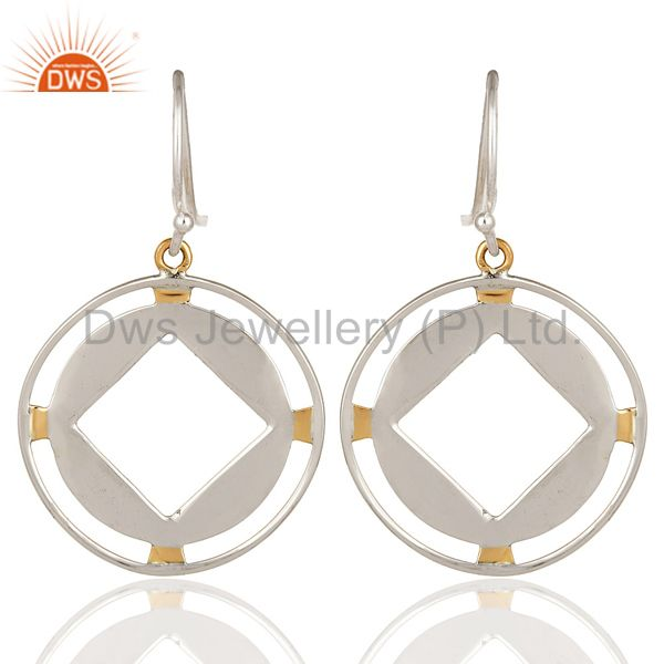 18K Yellow Gold And Sterling Silver Handmade Circle Hook Dangle Earrings