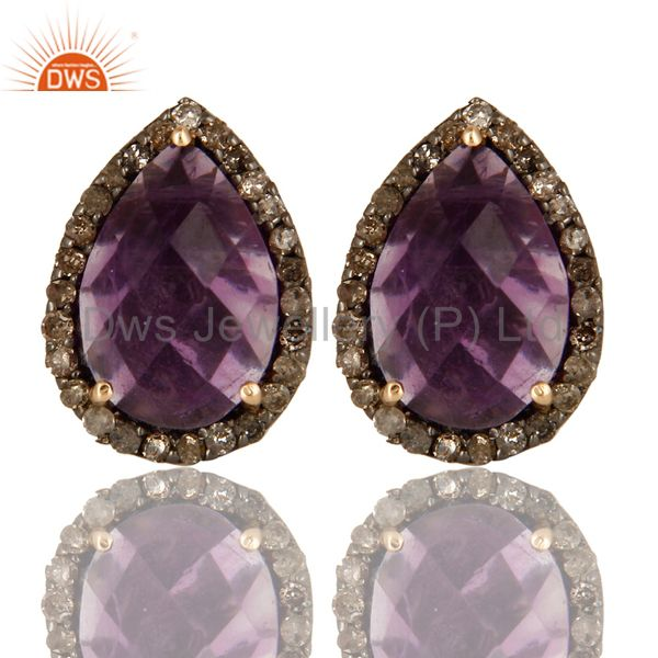 14K Yellow Gold And Sterling Silver Amethyst Pave Set Diamond Stud Earrings