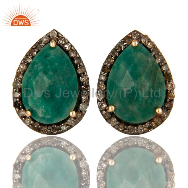 14K Solid Yellow Gold Natural Emerald And Pave Set Diamond Womens Stud Earrings