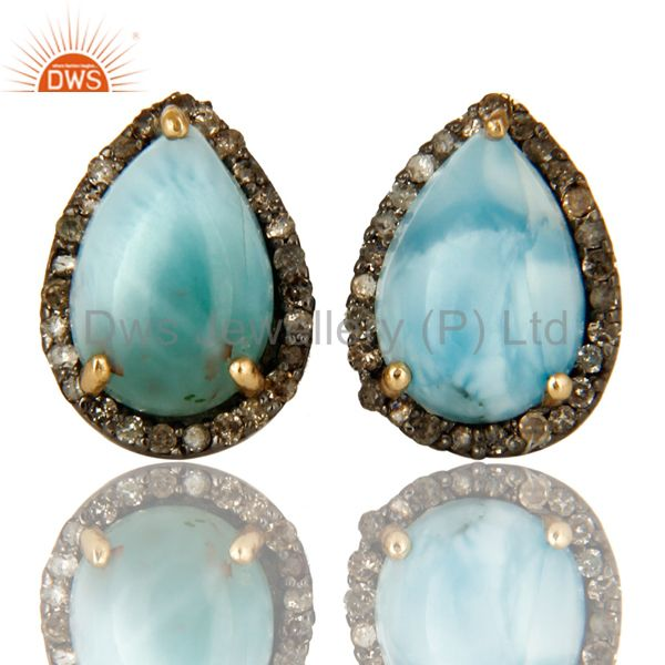 Natural Diamond Pave Set And Larimar Gemstone Stud Earrings In 14K Yellow Gold