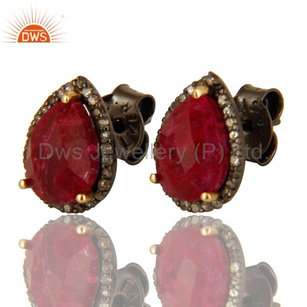 Oxidized 14K Solid Yellow Gold Ruby And Pave Set Diamond Stud Earrings For Women