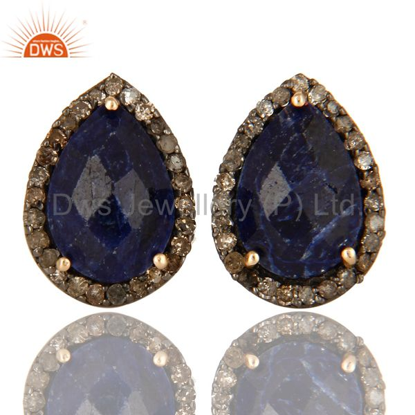 14K Yellow Gold Blue Sapphire And Pave Diamond Ladies Stud Earrings For Womens