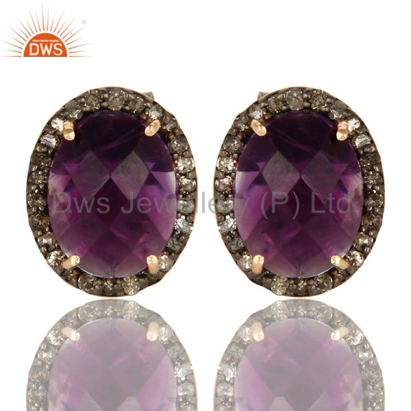 14K Solid Yellow Gold Amethyst Gemstone Ladies Stud Earrings With Pave Diamond