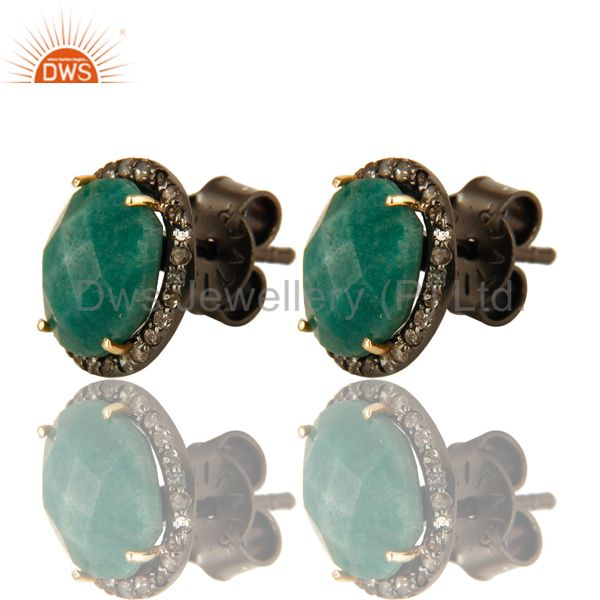 Oxidized 14K Yellow Gold Emerald And Pave Set Diamond Stud Earrings For Womens