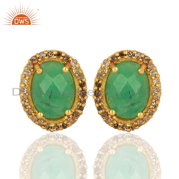 Gold Plated Emerald gemstone Pave Diamond Stud Earrings Jewelry
