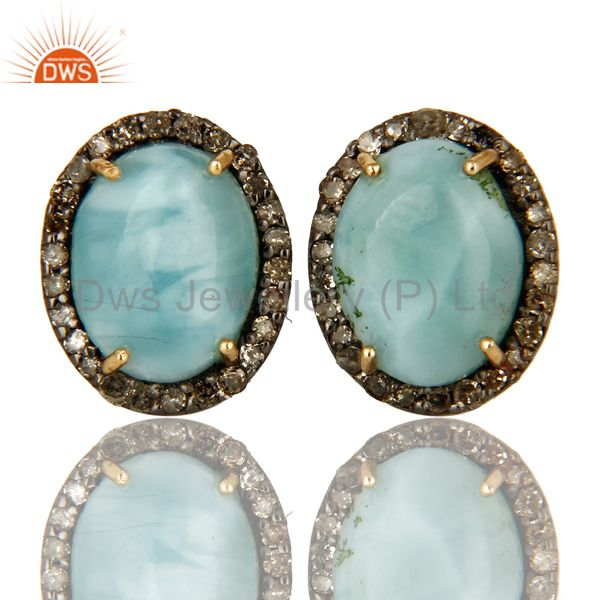 Natural Larimar 14K Yellow Gold And Sterling Silver Pave Diamond Stud Earrings
