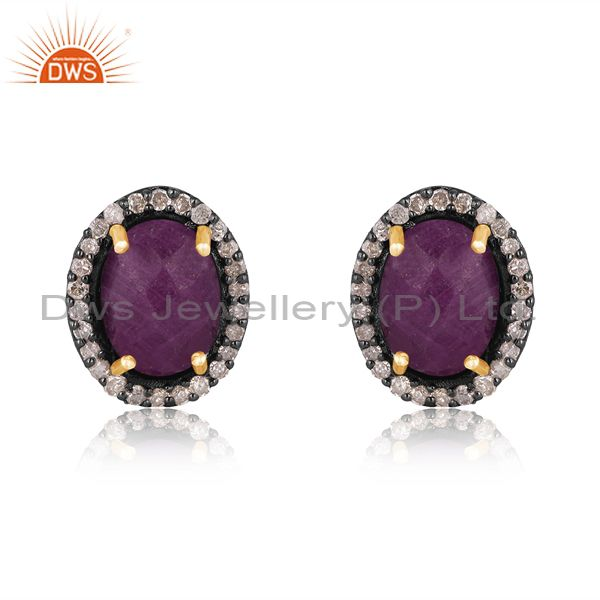 Natural Ruby Gemstone Pave Diamond Gold Plated Stud Earrings Supplier
