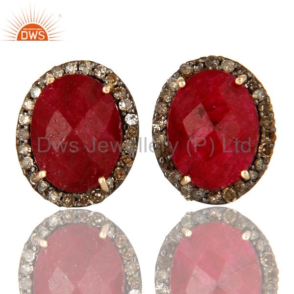 Natural Ruby 14K Yellow Gold And Sterling Silver Stud Earrings With Pave Diamond