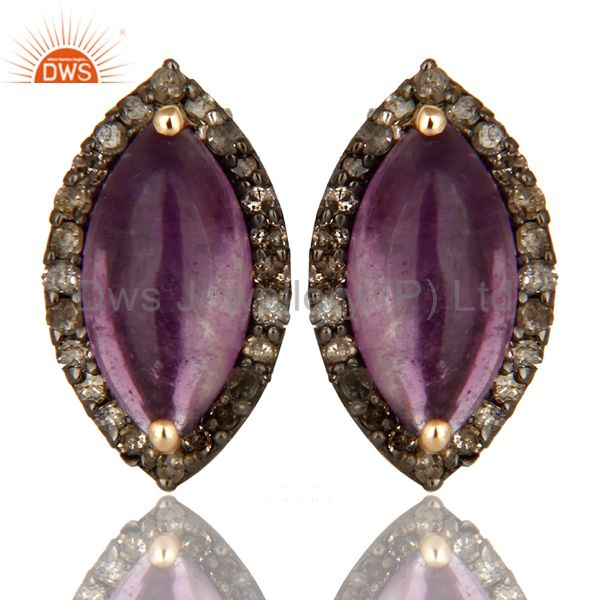 Natural Amethyst Gemstone And Pave Diamond 14K Yellow Gold Stud Earrings