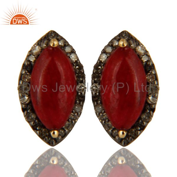 Oxidized 14K Yellow Gold Pave Set Diamond ANd Ruby Stud Earrings For Womens