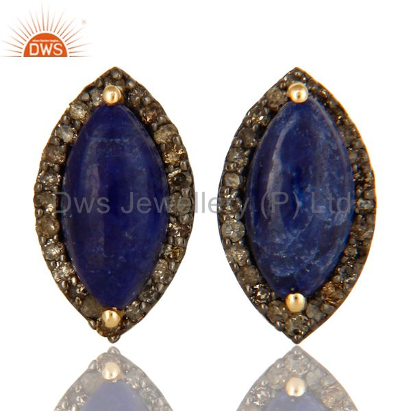 Natural Sapphire 14K Yellow Gold And Sterling Silver Pave Diamond Stud Earrings