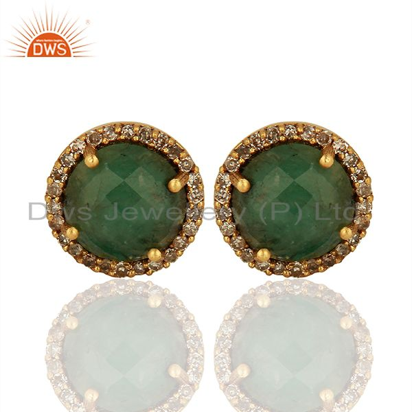 Emerald Gemstone Silver Pave Diamond Stud Earrings Manufacturer