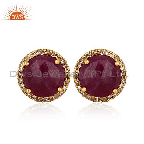Ruby Gemstone Diamond 18k Yellow Gold Stud Earrings Jewelry Manufacturer