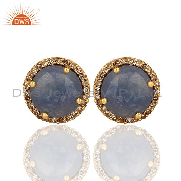 Blue Sapphire Gemstone Diamond Silver Stud Earrings Manufacturer