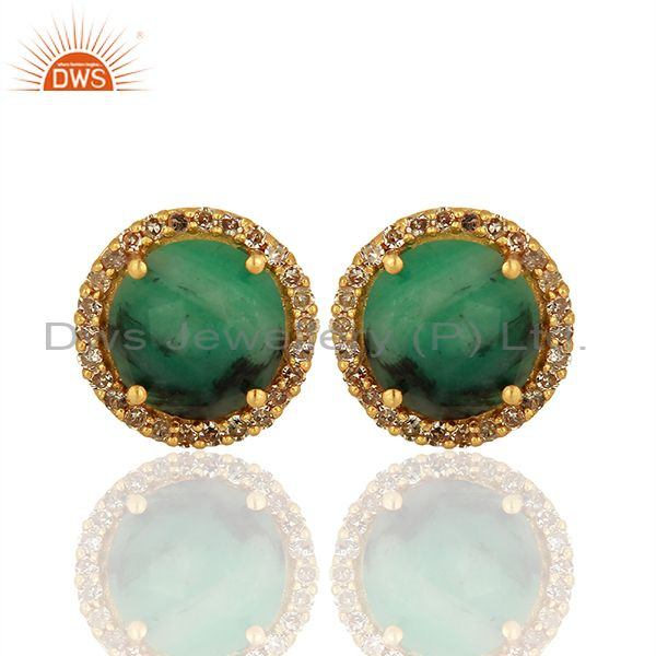 14k Gold 925 Silver Emerald Pave Diamond Stud Earrings Supplier