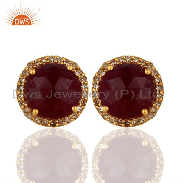 Natural Ruby Pave Diamond 925 Silver Stud Earrings Manufacturer