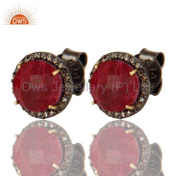 14K Solid Yellow Gold Diamond Framed And Ruby Round Stud Earrings For Womens