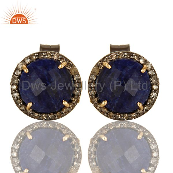 14K Solid Yellow Gold Sterling Silver Blue Sapphire Pave Diamond Stud Earrings