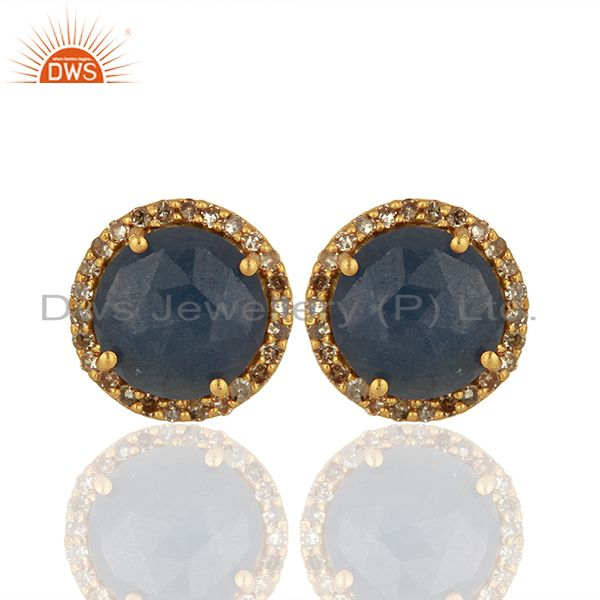 Blue Sapphire Gemstone Pave Set Diamond Stud Earrings Supplier