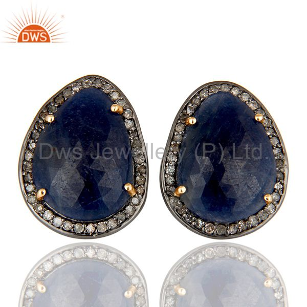 Genuine 14K Yellow Gold Pave Diamond And Blue Sapphire Womens Stud Earrings