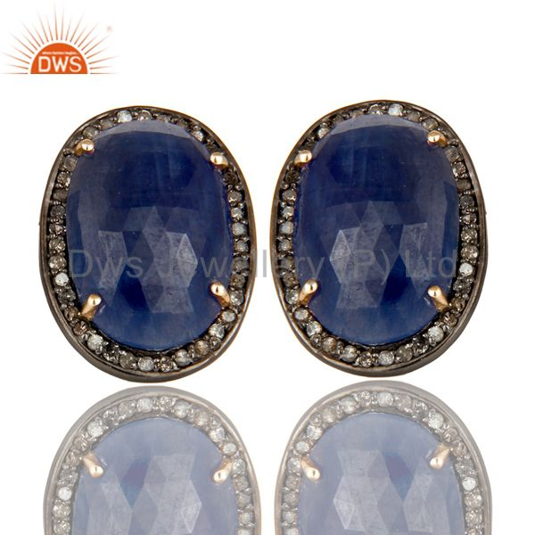 14K Solid Yellow Gold Pave Set Diamond And Blue Sapphire Oval Stud Earrings